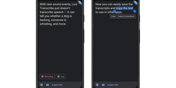 Google live transcribe sound event save transcripts