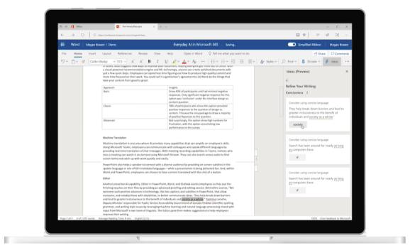 Microsoft Ideas in Word