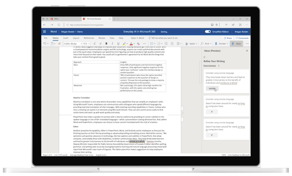Microsoft Ideas in Word