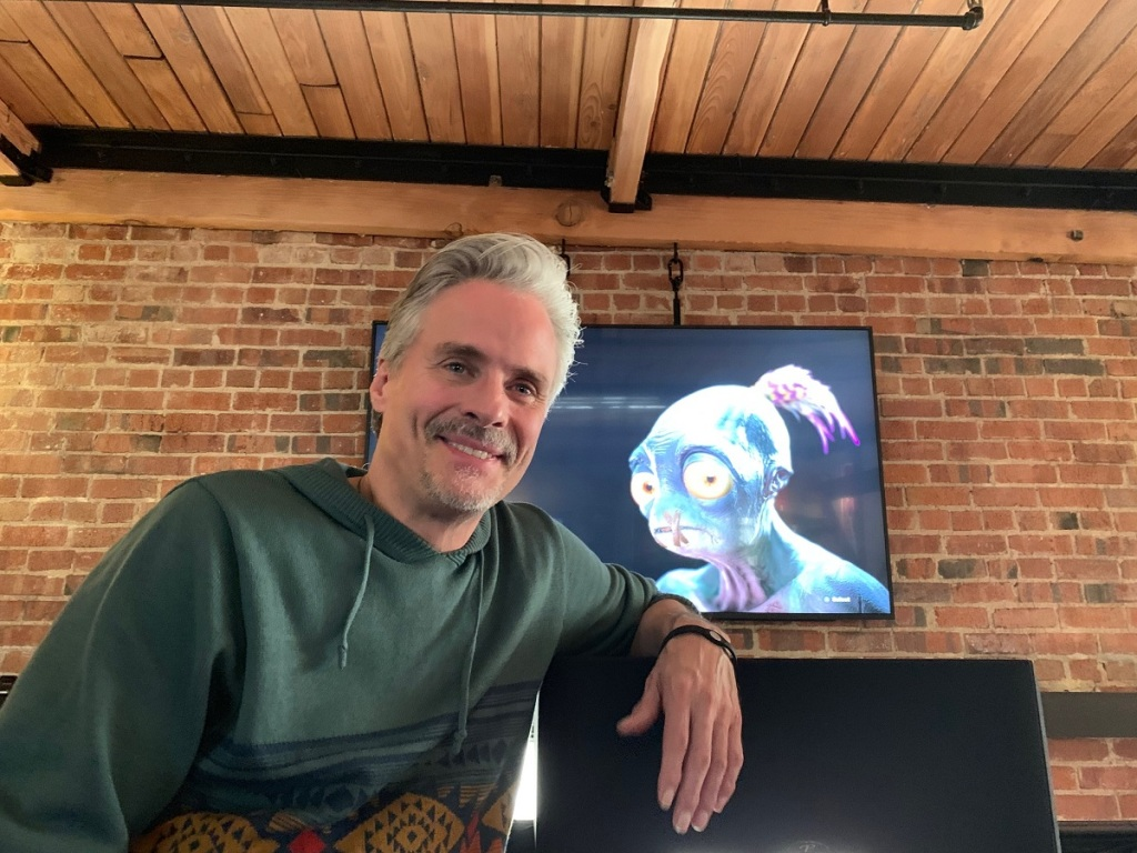 Lorne Lanning, cofounder of Oddworld Inhabitants, with Abe.