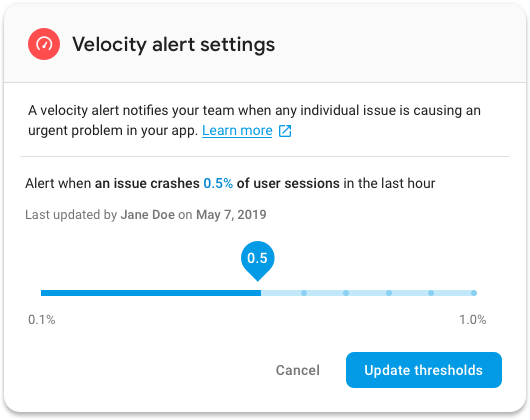Firebase velocity settings