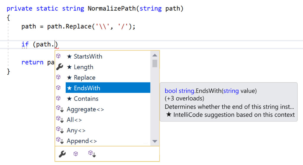 Visual Studio Intellicode
