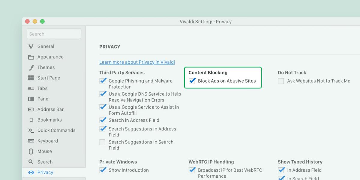 Vivaldi 2.6 ad blocking