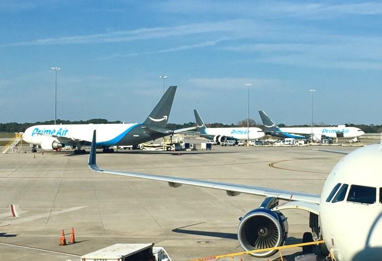 Three Amazon Air 767s at Tampa International Airport