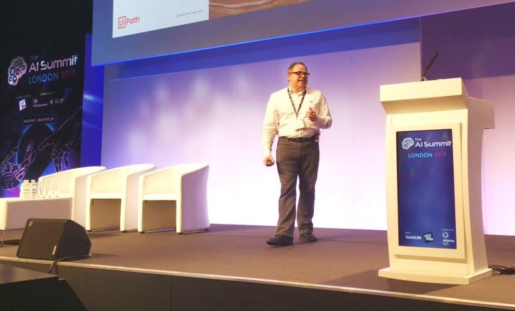 Boris Krumrey, chief robotics office at UiPath, speaking at AI Summit London (2019)