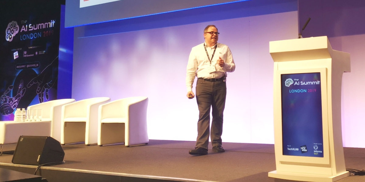 Boris Krumrey, chief robotics office at UiPath, speaking at AI Summit London (2019)