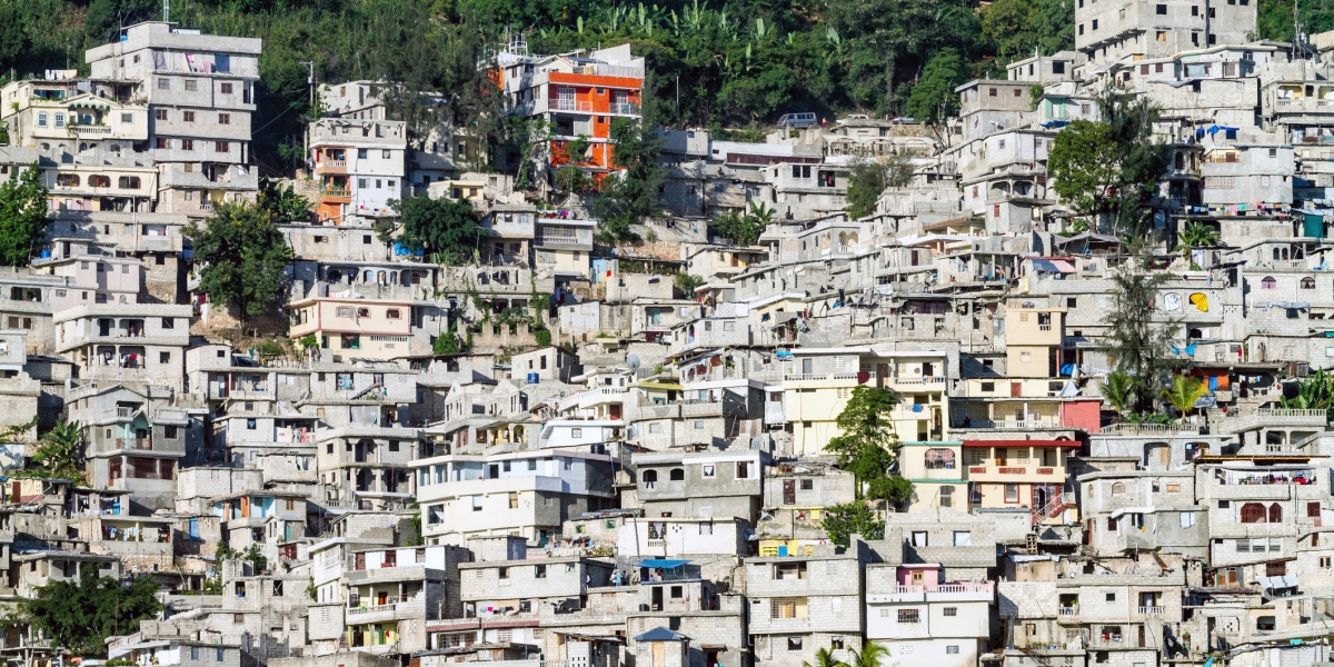 Haiti, Port au Prince, Petionville, informal hillside housing