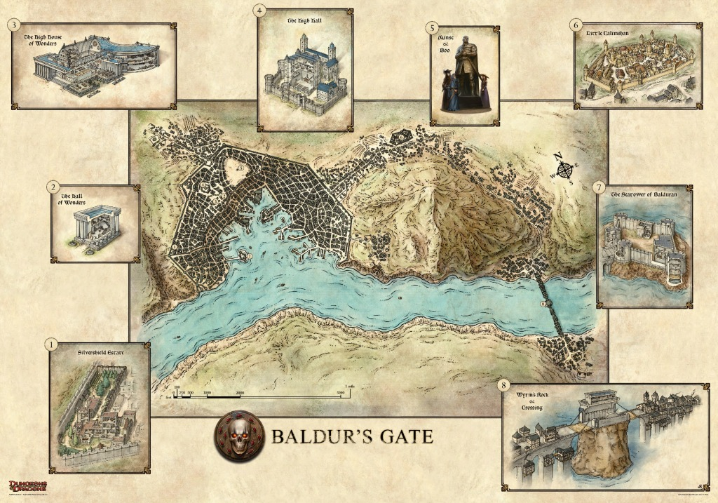 The city of Baldur's Gate in Murder in Baldur's Gate on the eve of The Sundering.