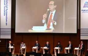 US Secretary of Treasury Steven Mnuchin (R, on podium) delivers a speech during the G20 Ministerial Symposium on International Taxation in the G20 Finance Ministers and Central Bank Governors meeting in Fukuoka