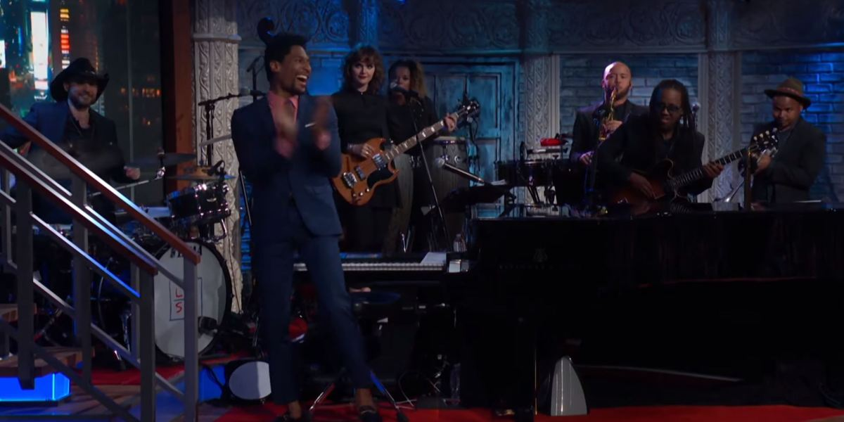 """Stay Human, Jon Batiste's band, playing the """"Lost Woods"""" theme."""