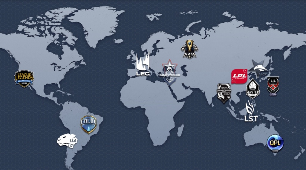 League of Legends esports has 13 locations around the world.