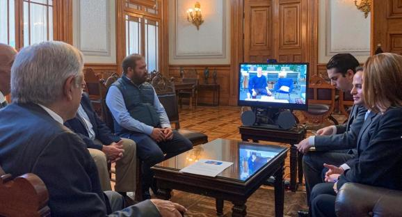Mexico's President Andres Manuel Lopez Obrador holds a video conference with Facebook's Mark Zuckerberg at the National Palace in Mexico City, Mexico June 18, 2019.