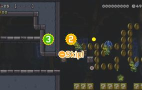 Skipping a level in Super Mario Maker 2.