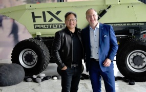 Nvidia CEO Jensen Huang and  Lars Stenqvist, Volvo Group chief technology officer.