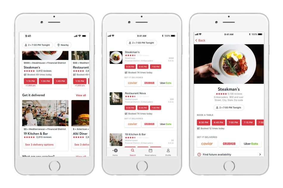 OpenTable expands into food deliveries with Caviar, Grubhub