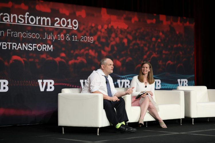 Andrew Moore, Head of Google Cloud Artificial Intelligence, speaks on stage with Jana Eggers, CEO of Nara Logics.