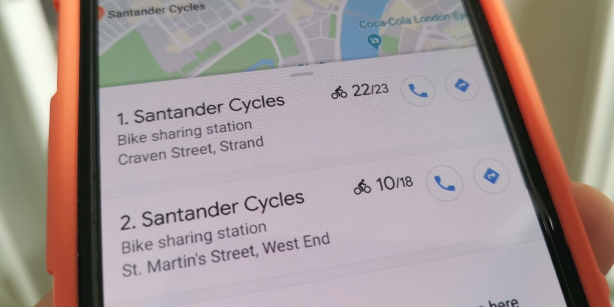 Google Maps: Bike-sharing