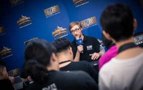 Hearthstone esports lead Sam Braithwaite during a press conference.