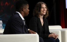 Cloudera general manager  of machine learning Hilary Mason onstage at Transform 2019 held July  11, 2019 in San Francisco