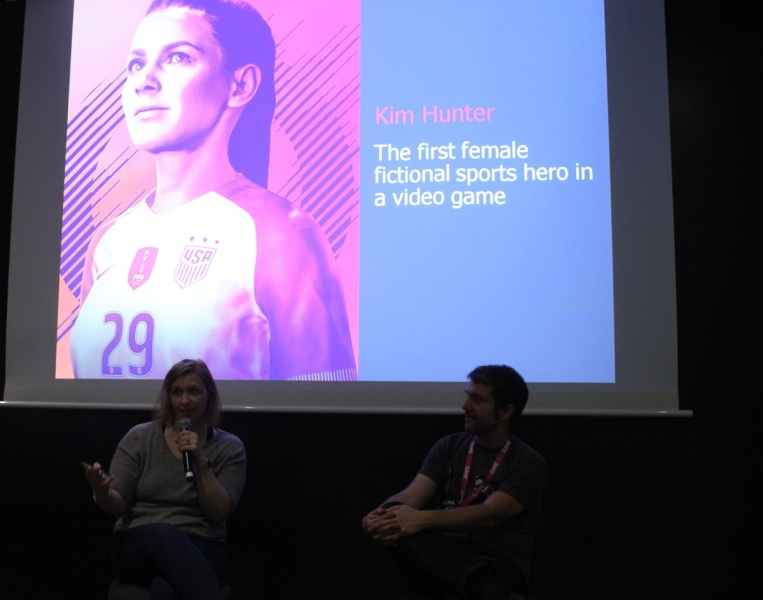 Katie Scott (left) speaks at Gamelab about female characters in soccer games.
