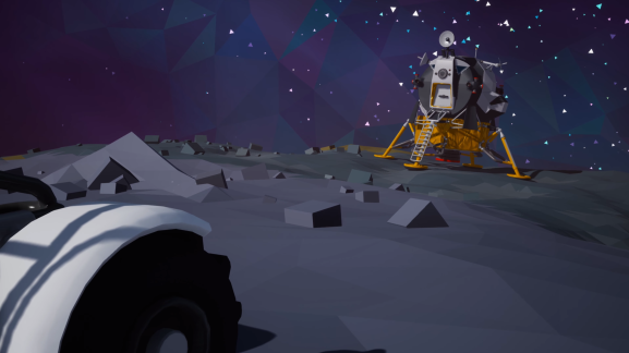 Making a lunar module in Astroneer.
