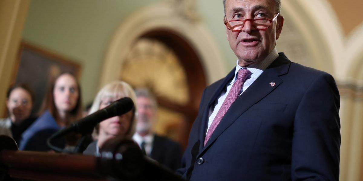 U.S. Senate Minority Leader Chuck Schumer (D-NY) speaks to reporters after the weekly Democratic caucus luncheon at the U.S. Capitol in Washington, U.S. June 11, 2019.