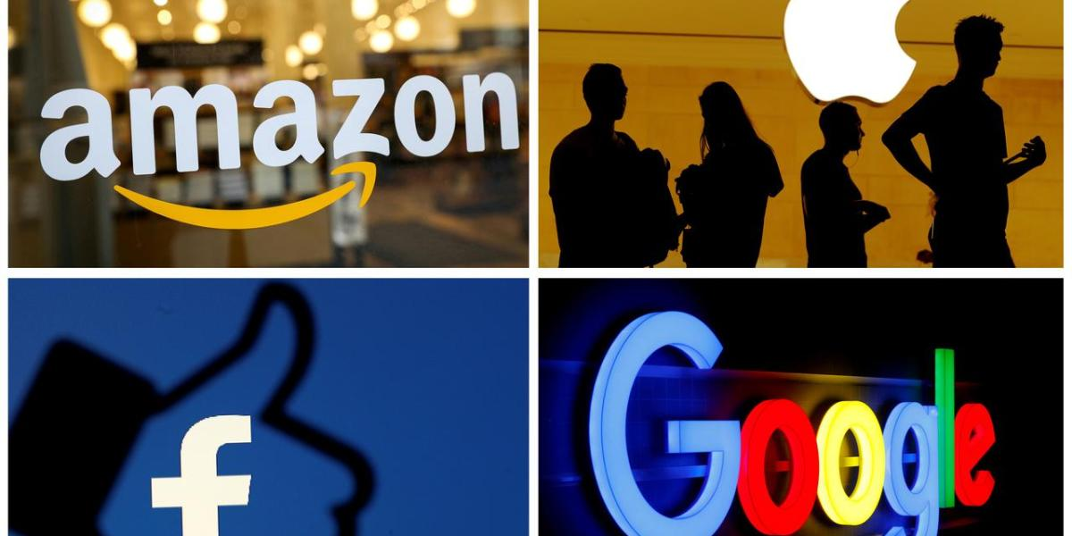 The logos of Amazon, Apple, Facebook and Google in a combination photo from Reuters files