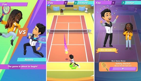 Snapchat's newest game is Bitmoji Tennis.