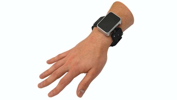 Facebook's prototype Tasbi haptic feedback wristband.