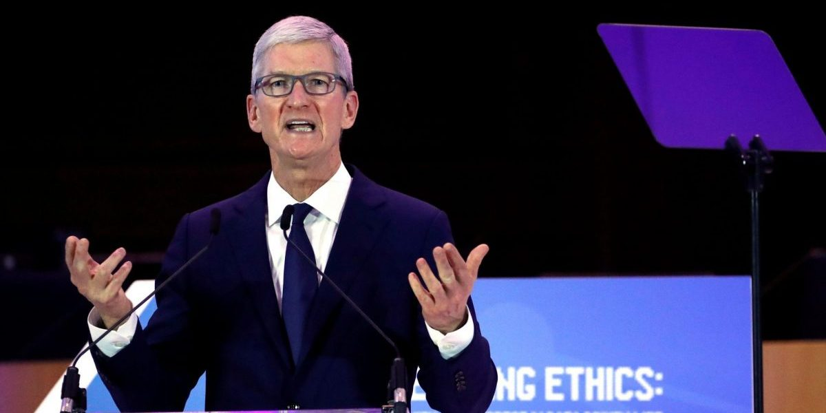 Apple CEO Tim Cook delivers a keynote during the European Union's privacy conference at the EU Parliament in Brussels