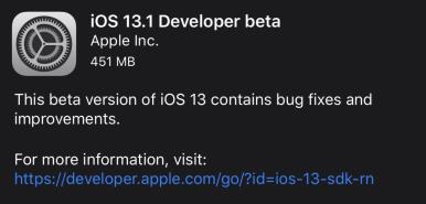 Apple unexpectedly releases iOS 13 1 developer beta before