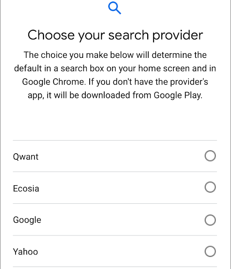 Default search: Google's Android