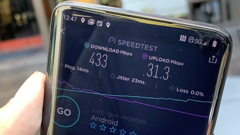 The OnePlus 7 Pro 5G on Sprint's 5G network in Los Angeles, California.