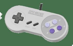 An original Super Nintendo controller.