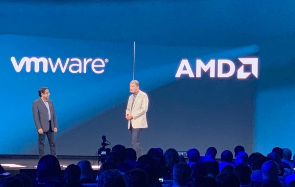 AMD CTO Mark Papermaster (right) with VMWare exec Krish Prasad.