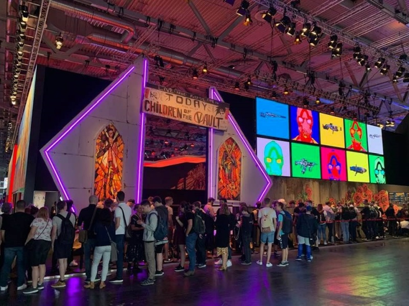 The line for Borderlands 3 eight minutes after Gamescom 2019 opened.