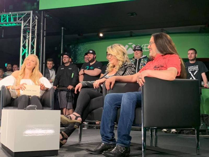 Brenda and John Romero at the Microsoft event at Gamescom 2019.