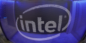 Computer chip maker Intel's logo is shown on a gaming computer display during the opening day of E3