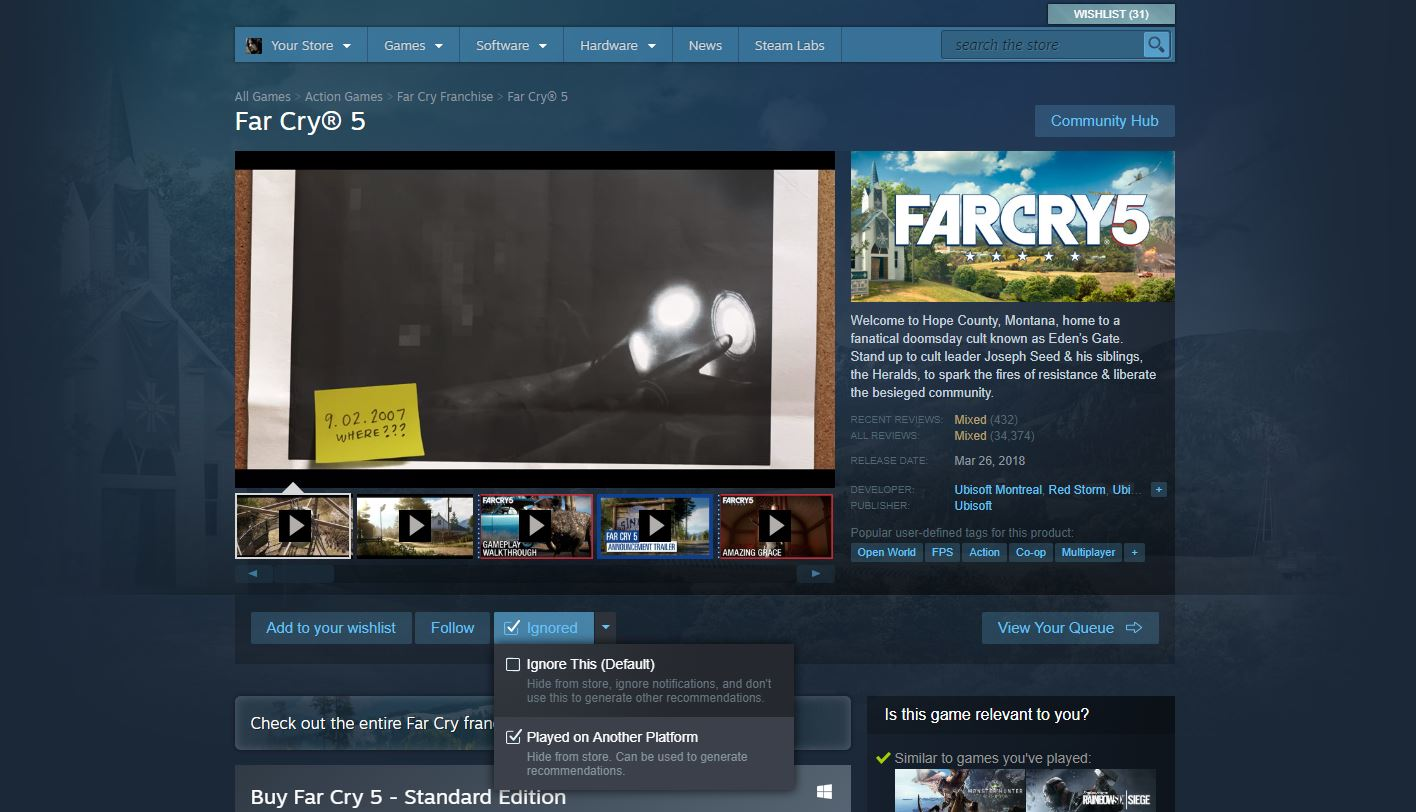 You can now tell Steam you already played a game on another