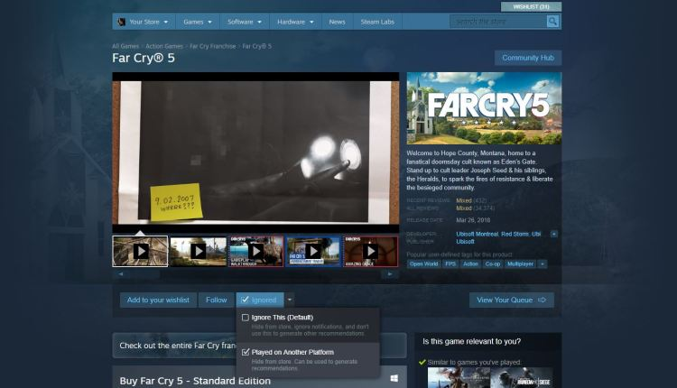 Steam's new feature.