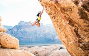 rock climbing on cliff