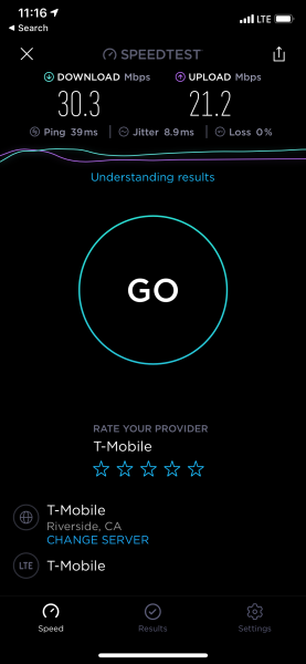 A fairly typical U.S. Speedtest with the iPhone 11 Pro on T-Mobile LTE: 30Mbps download and upload speeds.