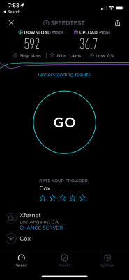 A hyper-fast Wi-Fi 5 Speedtest result, taking advantage of a home Gigabit broadband internet connection.