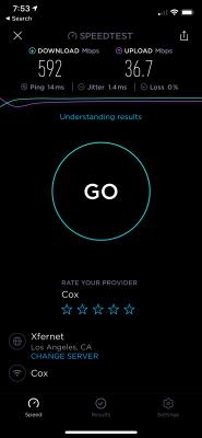 A hyper-fast Wi-Fi 5 Speedtest result, taking advantage of a home Gigabit broadband internet connection.
