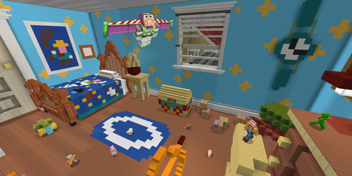 Toy Story was among the  top performing downloads on Minecraft Marketplace last month.