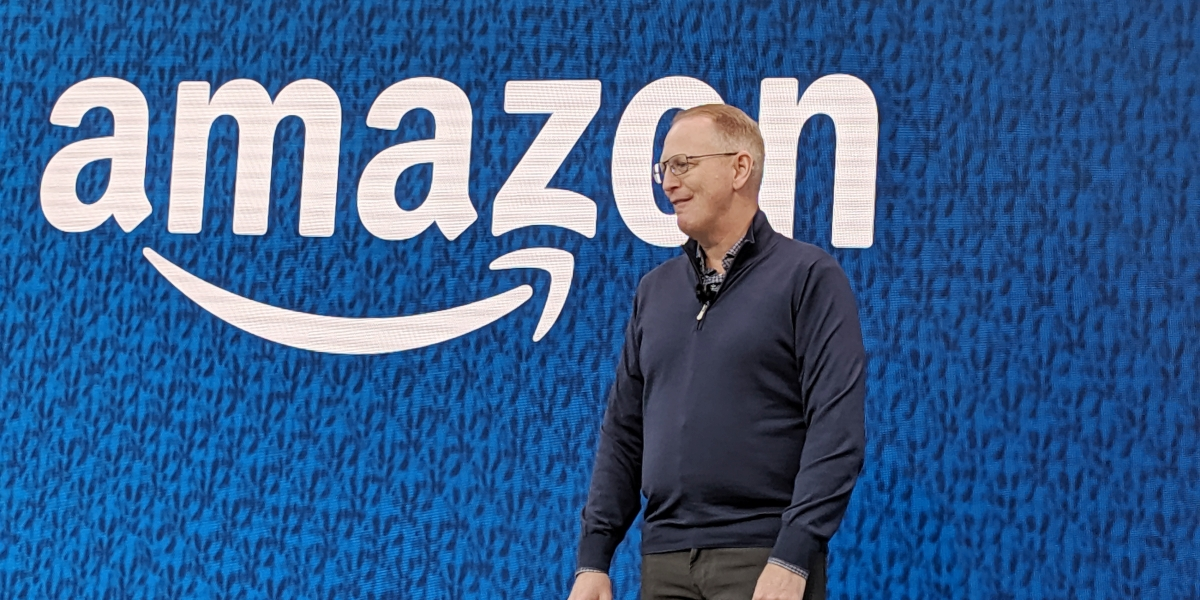 Amazon VP of devices David Limp onstage at company headquarters in Seattle
