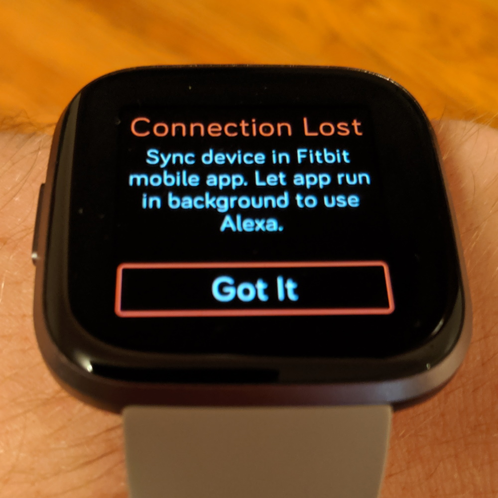 Fitbit Versa 2: Connection Lost