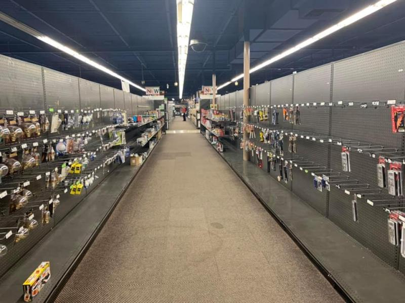 Bare shelves at Fry's Electronics in Campbell, California.