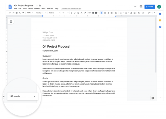Google Docs live word counter