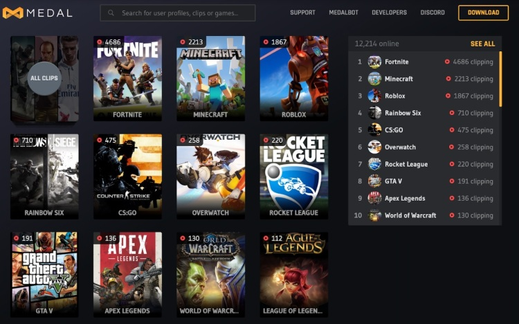 Medal.tv is a platform for short game videos.